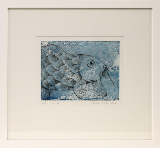 Framed artwork of a black & white Carp over a blue background by Anne Miles