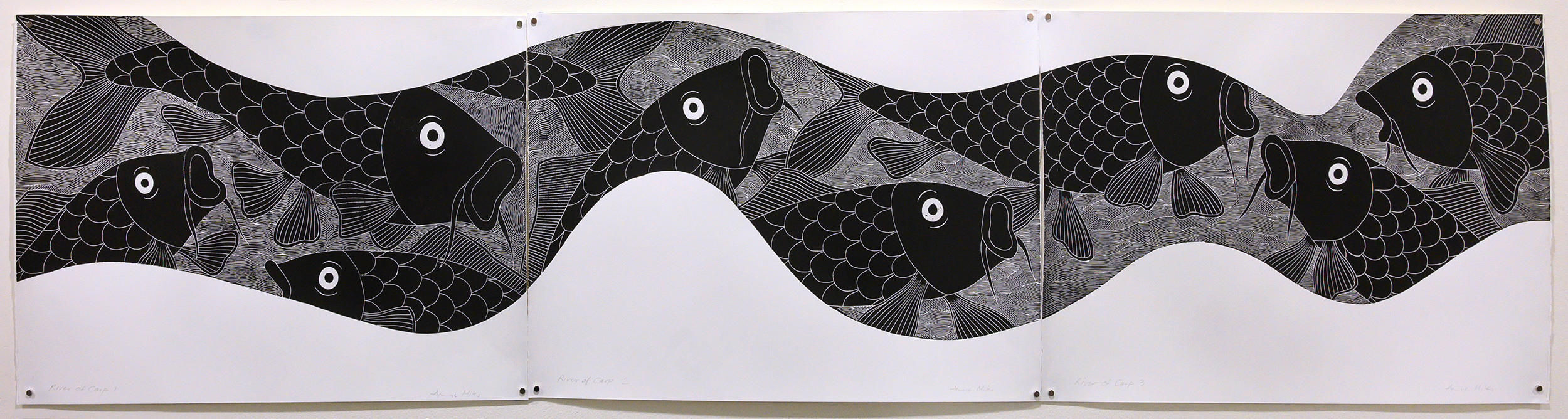 Unframed artwork by Anne Miles of multiple large black and white Carp within a flowing river shape