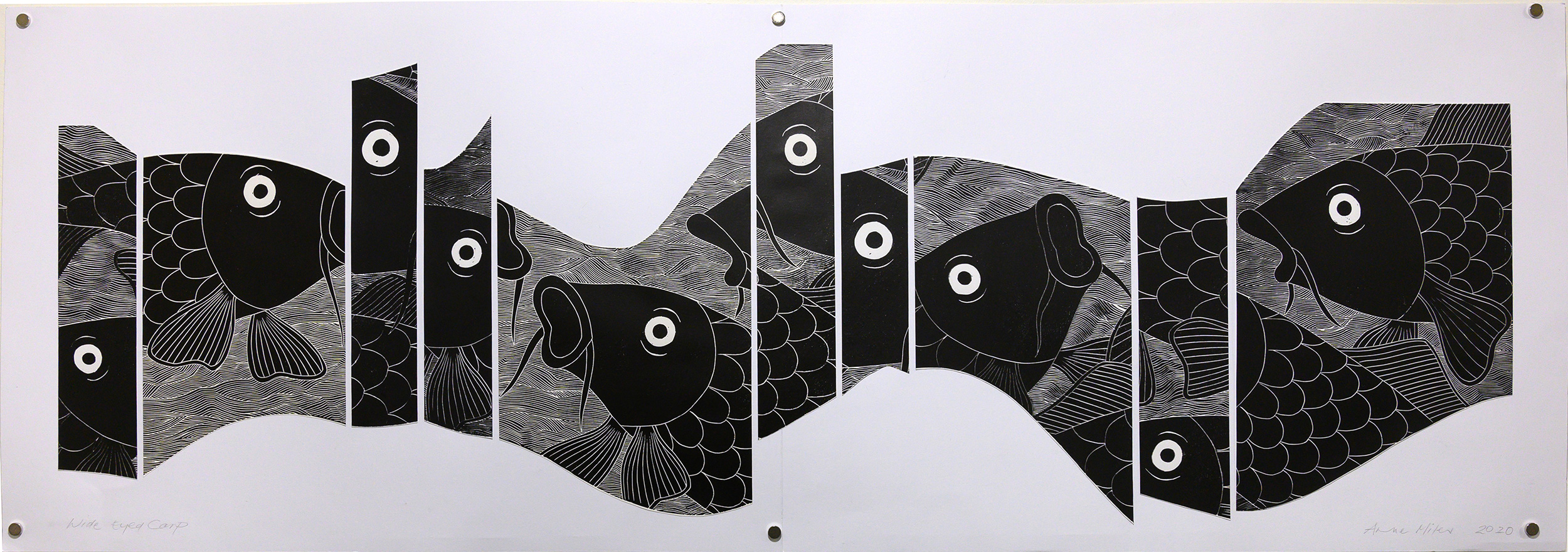 Unframed artwork by Anne Miles of multiple large black & white Carp within a segmented river shape