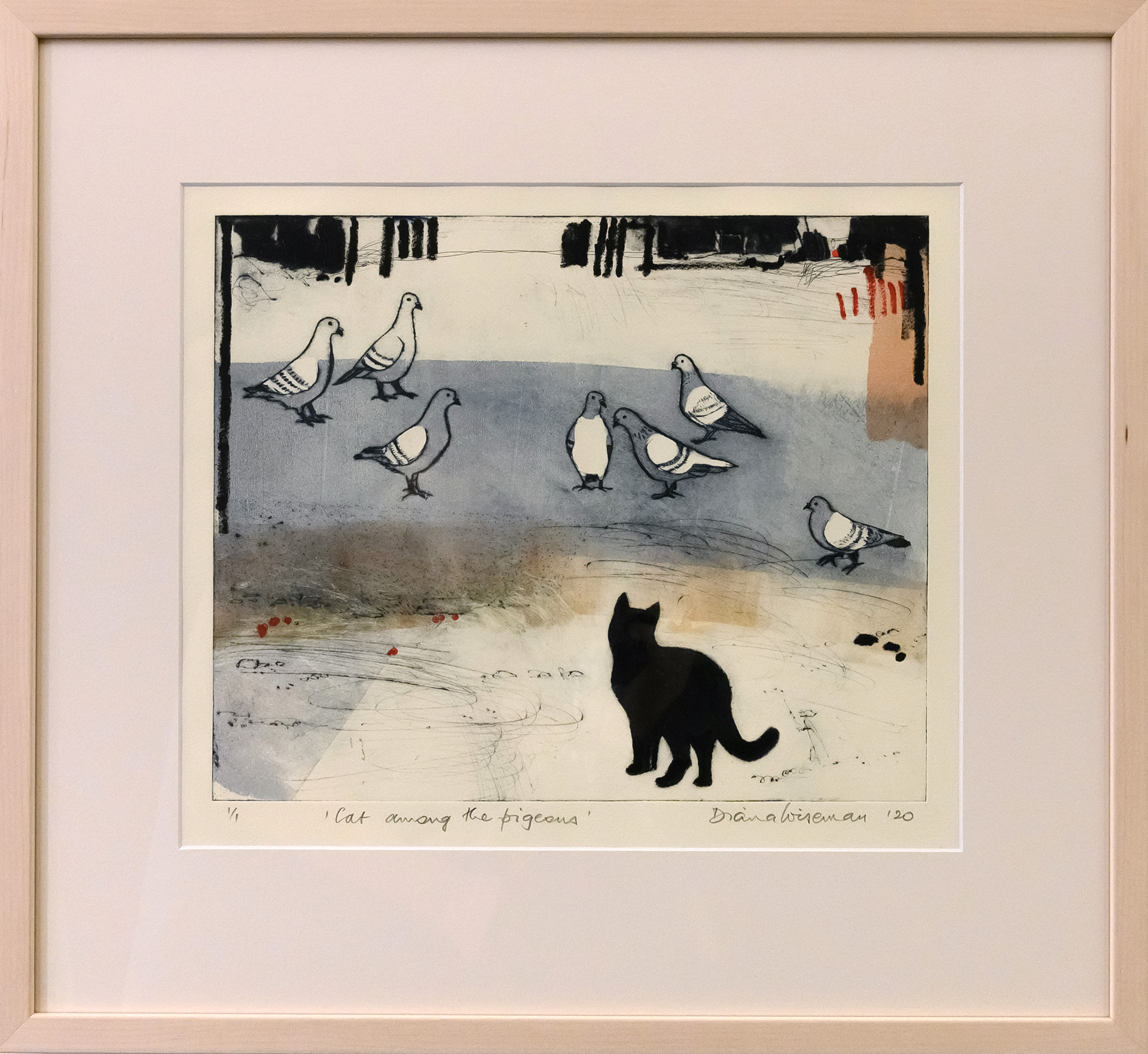 Framed artwork by Diana Wiseman of a black cat staring at a group of pigeons