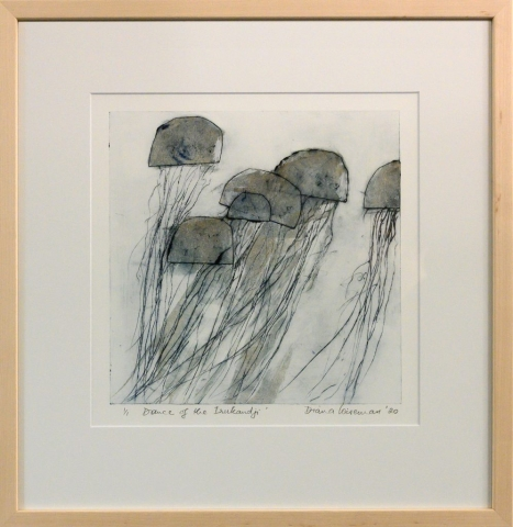 Framed artwork by Diana Wiseman of a group of jellyfish