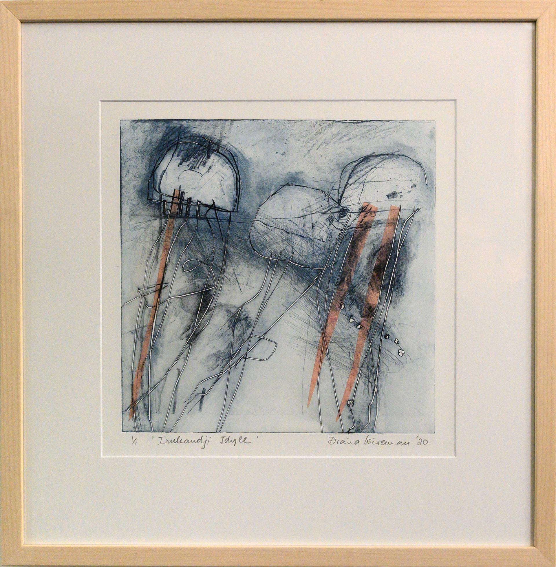 Framed artwork by Diana Wiseman of 3 jellyfish