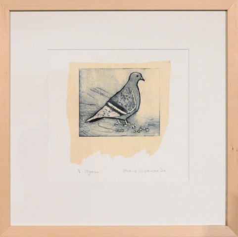 Framed artwork by Diana Wiseman of a pigeon