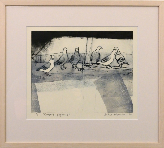 Framed artwork by Diana Wiseman of a group of pigeons
