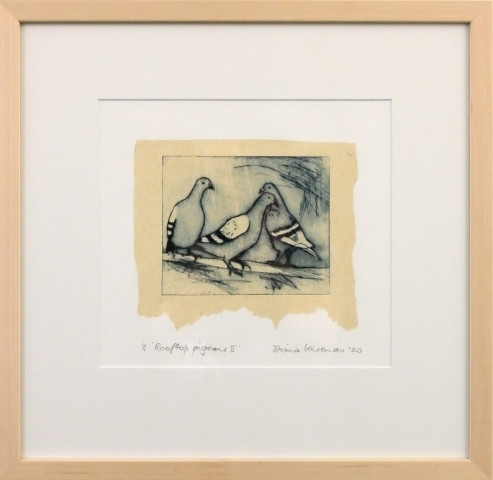 Framed artwork by Diana Wiseman of 3 pigeons