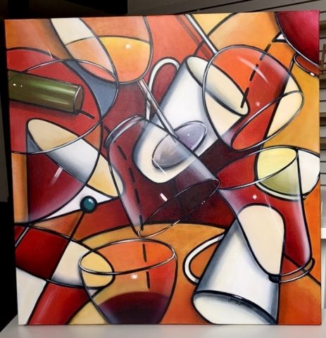 Warm coloured abstract painting of drinkware.