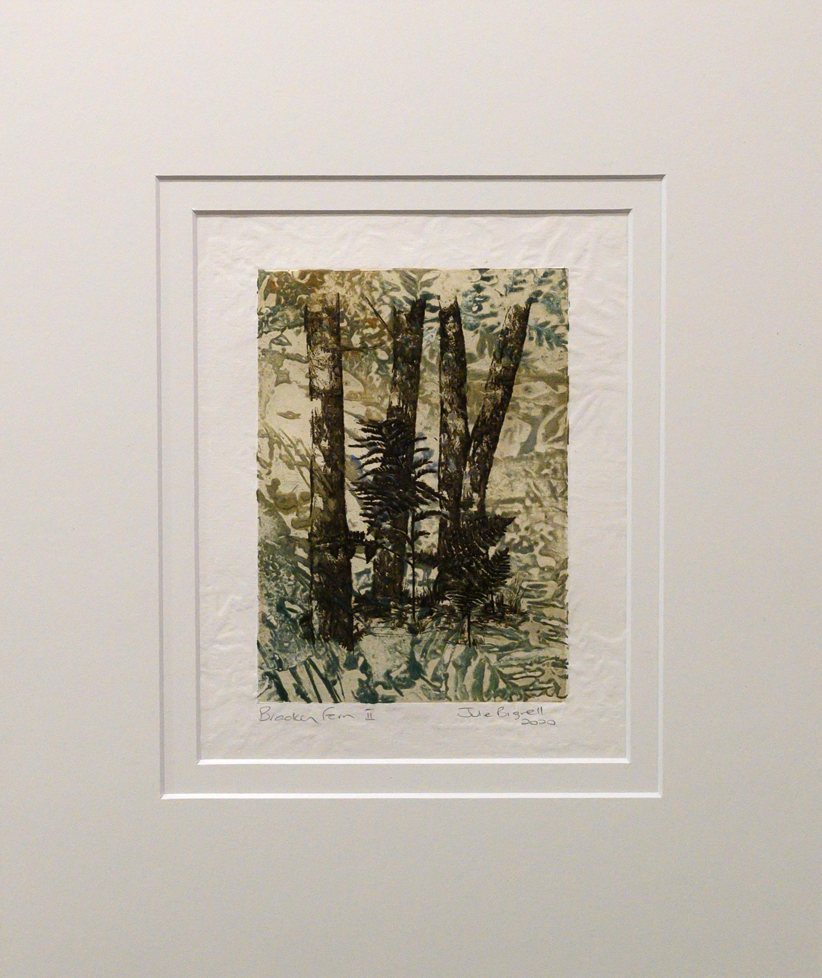 Unframed artwork by Julie Bignell of bracken fern amongst tree trunks
