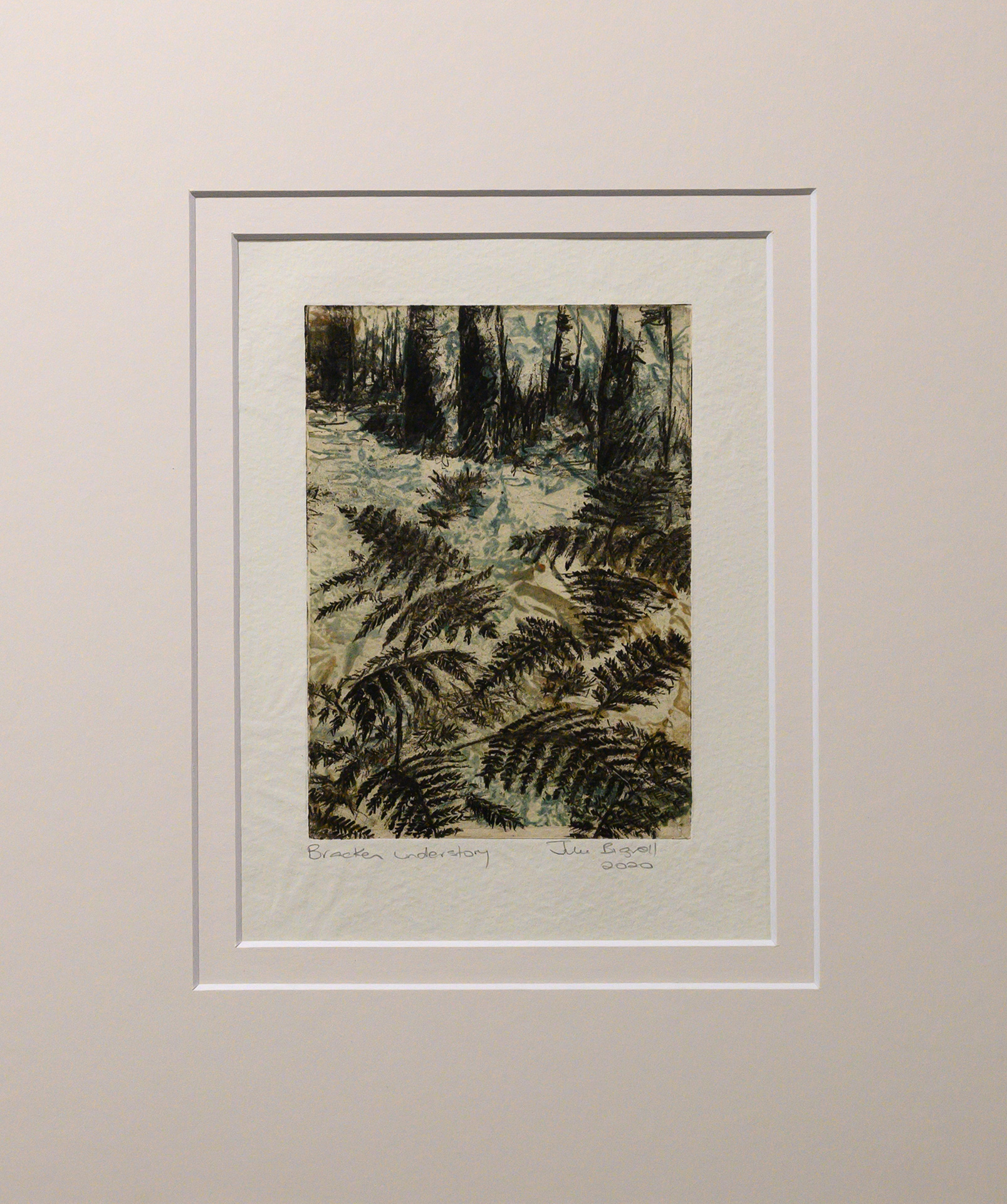 Unframed artwork by Julie Bignell of bracken fern in the foreground, leading to the base of tree trunks in the background