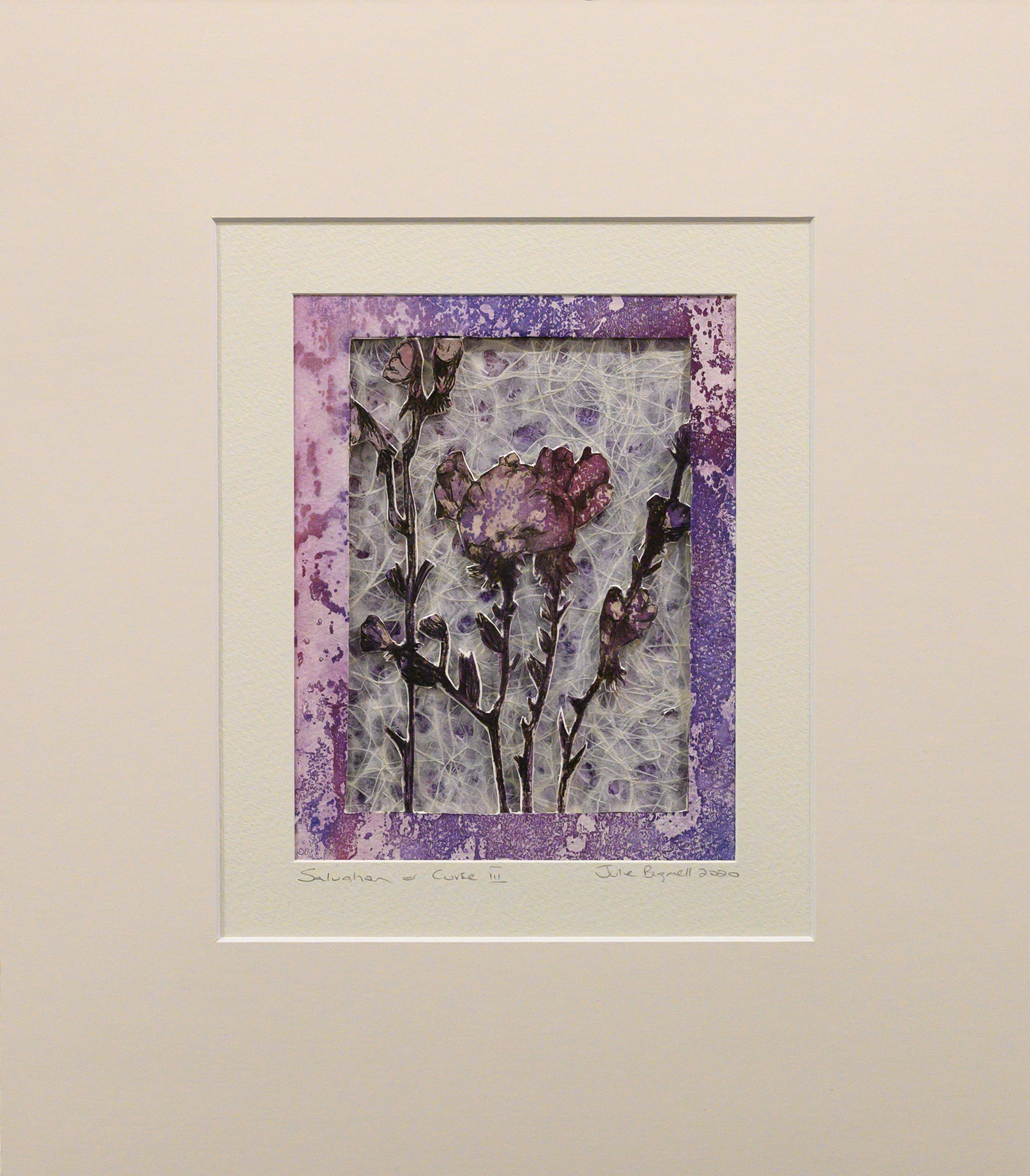 Unframed artwork by Julie Bignell of purple flowers cut out in the foreground with textured cream & purple coloured paper in the background and a printed purple border