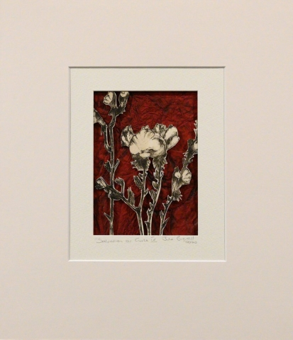 Unframed artwork by Julie Bignell of b&w flowers cut out in the foreground with textured dark red coloured paper in the background