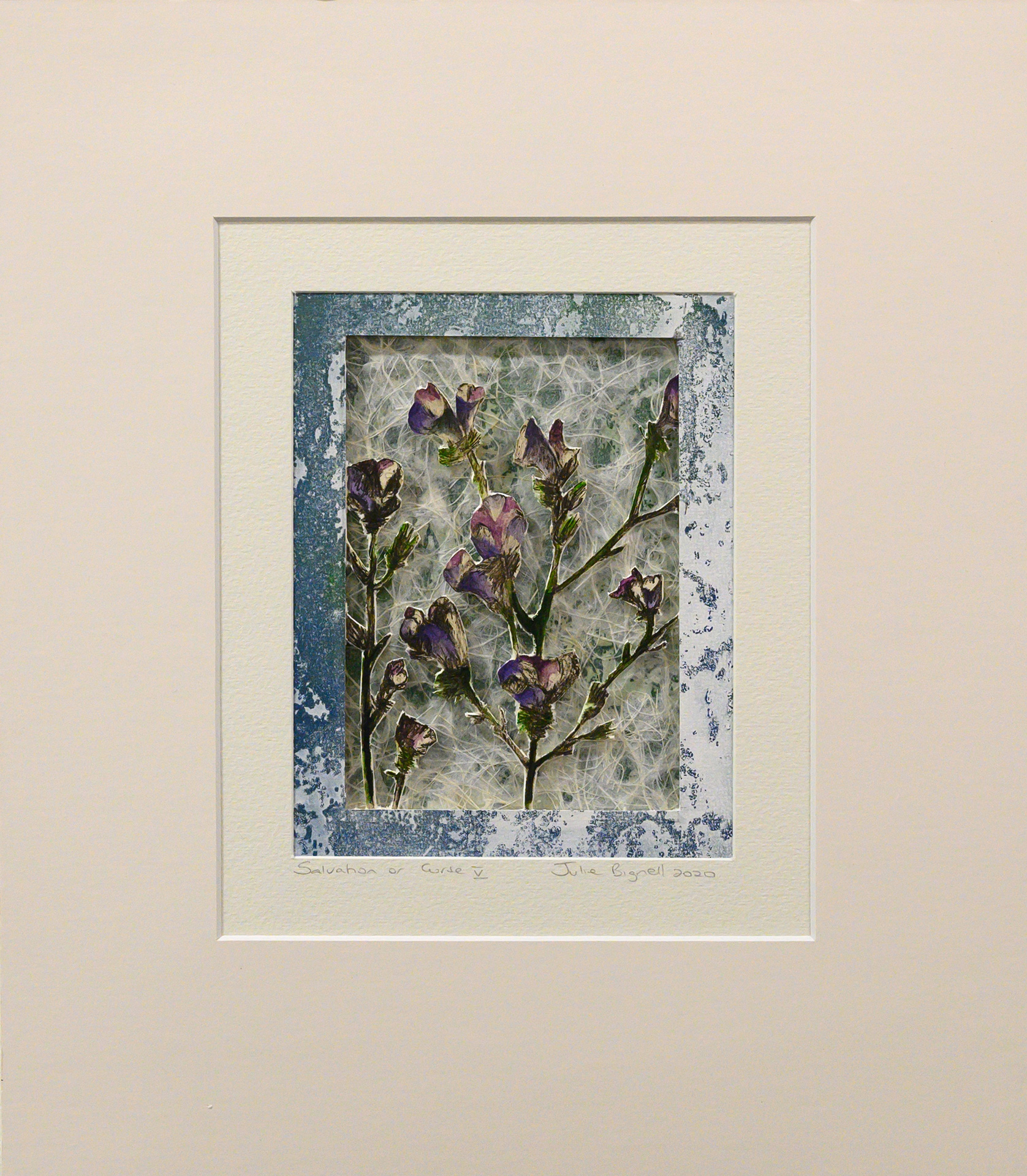 Unframed artwork by Julie Bignell of purple flowers cut out in the foreground with textured cream & dark green coloured paper in the background with a blue printed border