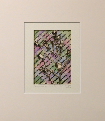 Unframed artwork by Julie Bignell of b&w flowers cut out in the foreground with multi-coloured paper in the background