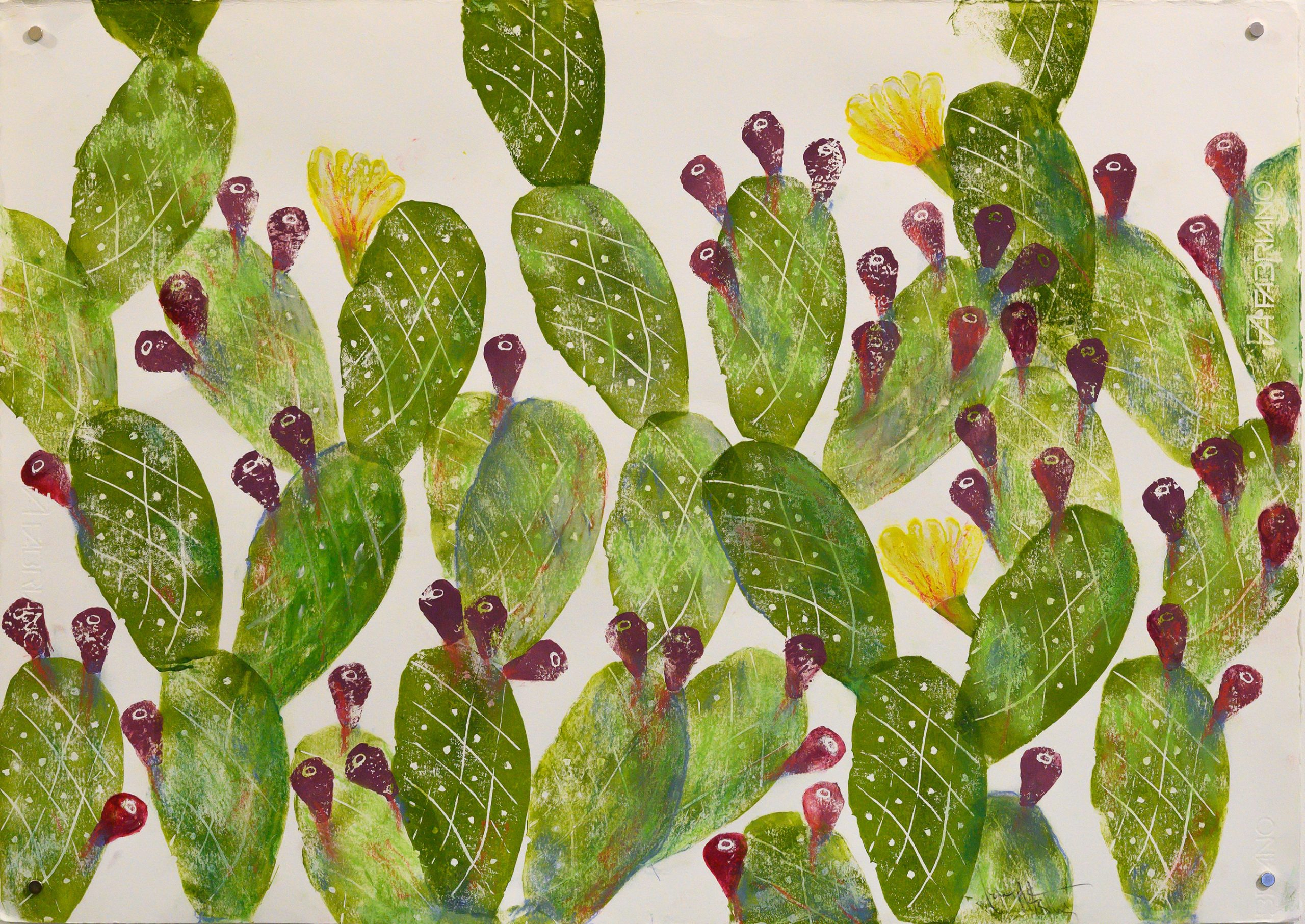 Unframed artwork of green prickly pear plant with red & yellow flowers