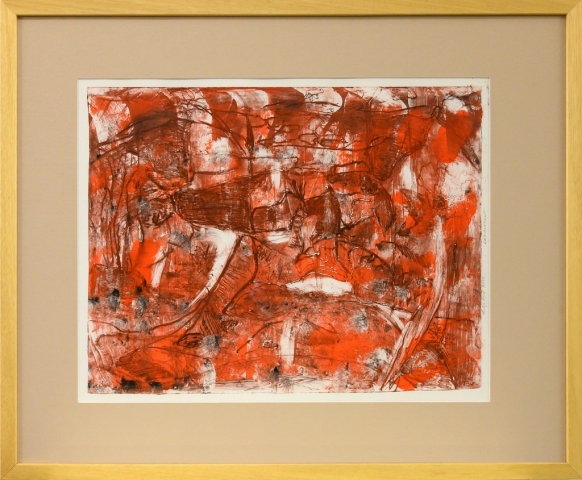 Framed artwork by Lilija Quill of an abstract red landscape