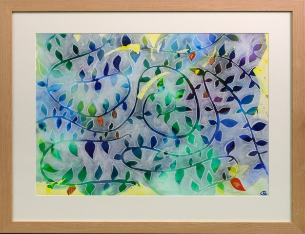 Framed artwork by Ruth Schubert of simplistic vines on a multi-coloured background