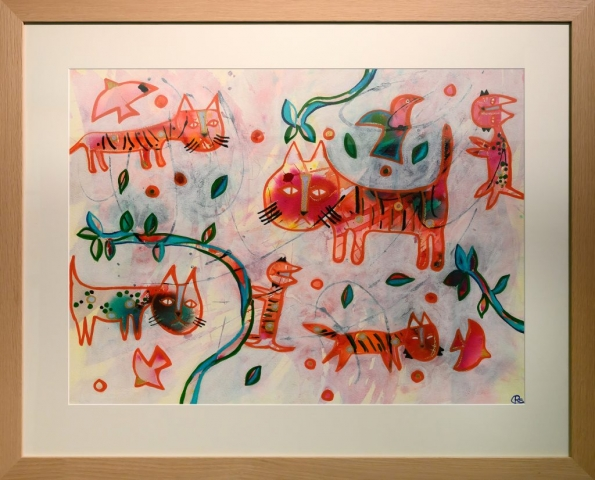 Framed artwork by Ruth Schubert of 6 red coloured cats amongst green vines and red birds
