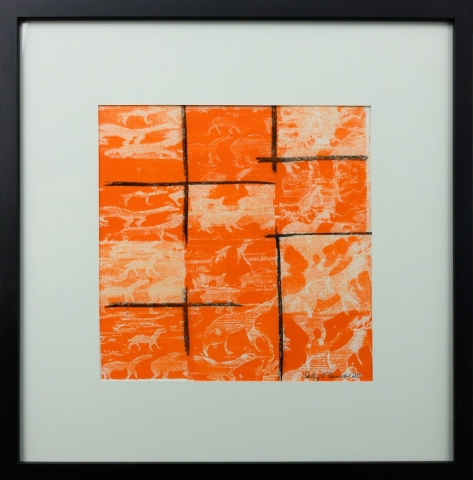 Framed artwork by Sally OConnor of a red background broken by black lines with small simplistic camels