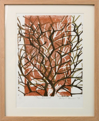 Framed artwork by Sally OConnor of layers of closeup tumbleweed branches in earthy tones