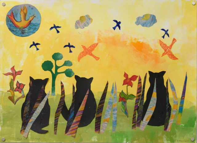 Unframed artwork by Stephanie Yoannidis of a colourful collage featuring 3 black cats sitting in green grass watching birds in the sky