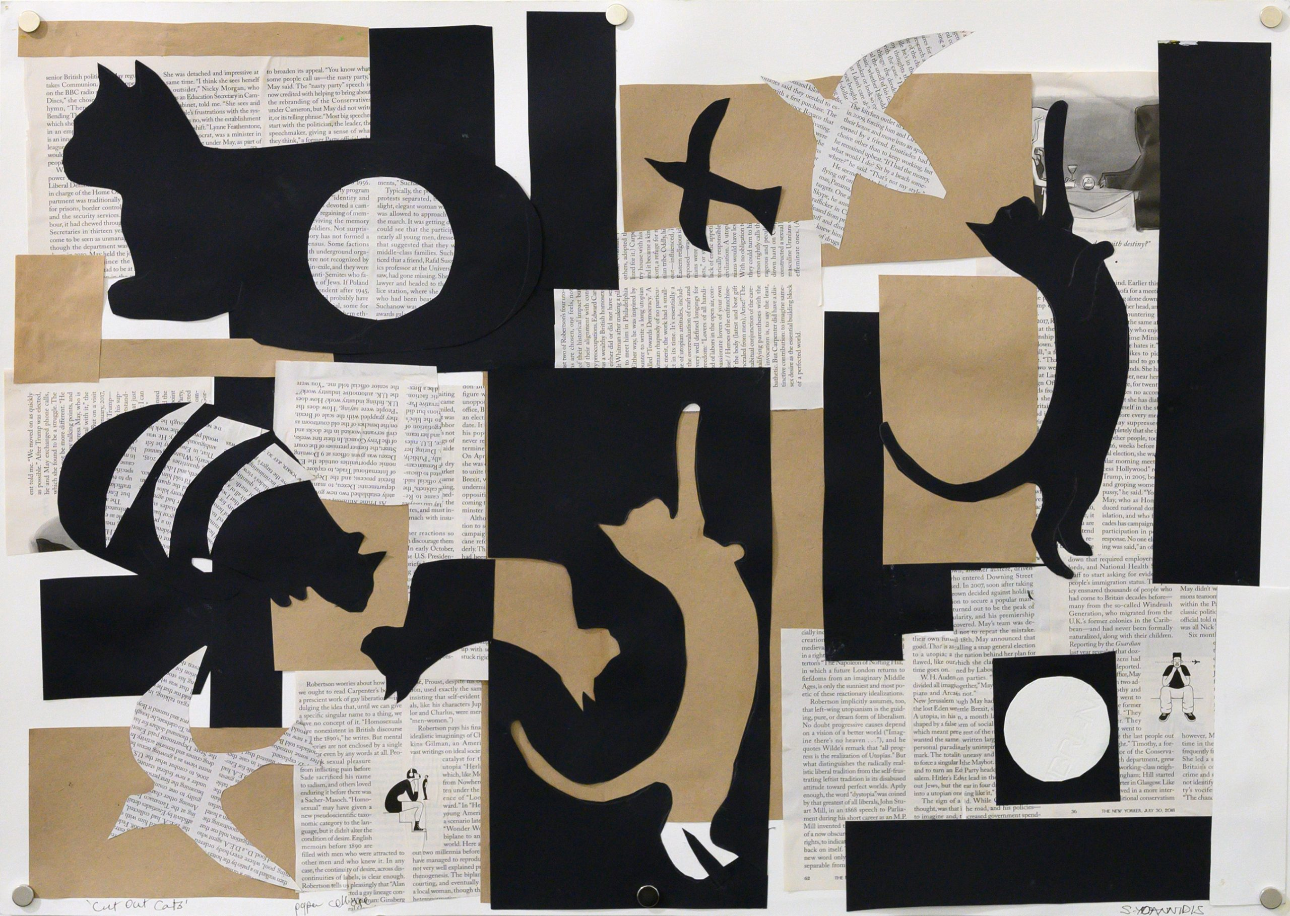 Unframed artwork by Stephanie Yoannidis of a black, white and brown kraft coloured collage featuring multiple cats amongst newsprint and silhouettes of birds