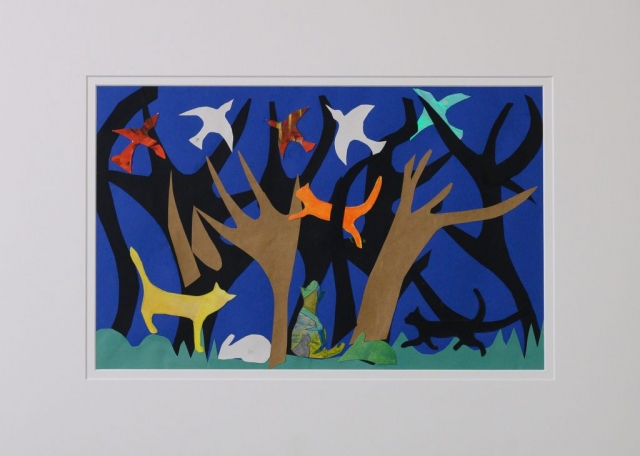 Unframed artwork by Stephanie Yoannidis of a colourful collage featuring four cats playing amongst silhouetted trees with birds flying in the dark blue sky