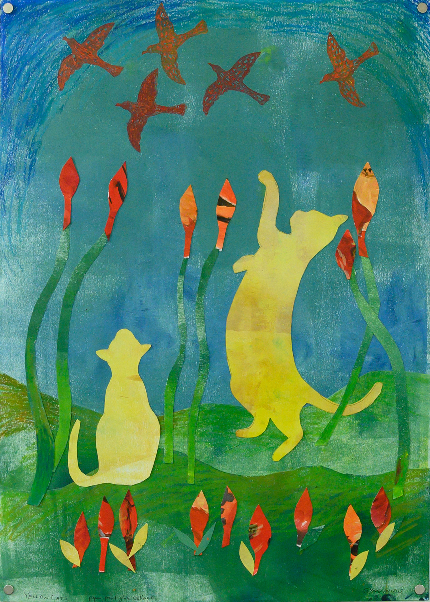 Unframed artwork by Stephanie Yoannidis of a colourful collage featuring two playful yellow cats in green grass and orange/red birds flying in a blue sky