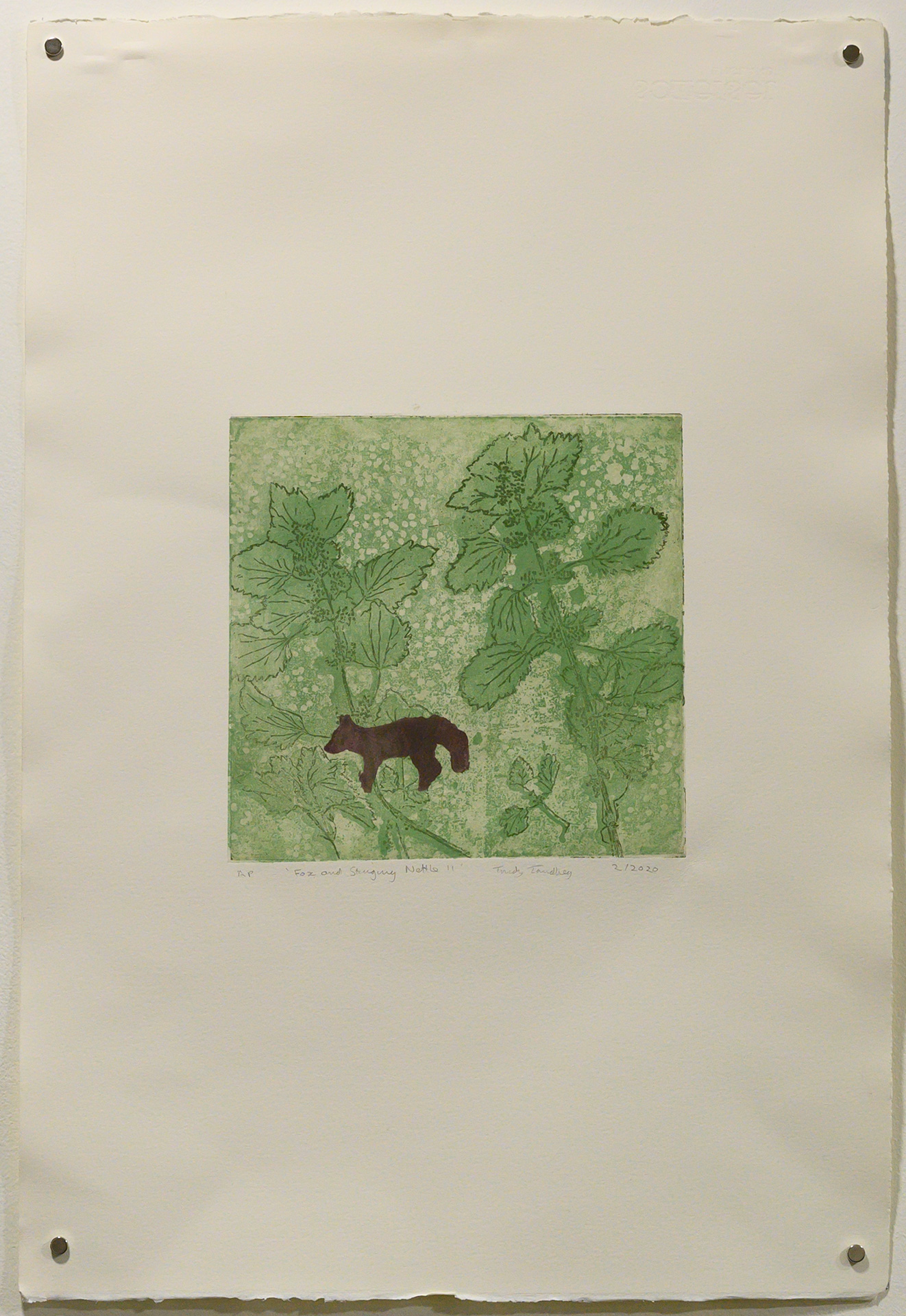 Unframed artwork by Trudy Tandberg of small fox silhouette on green background with detailed stinging nettle