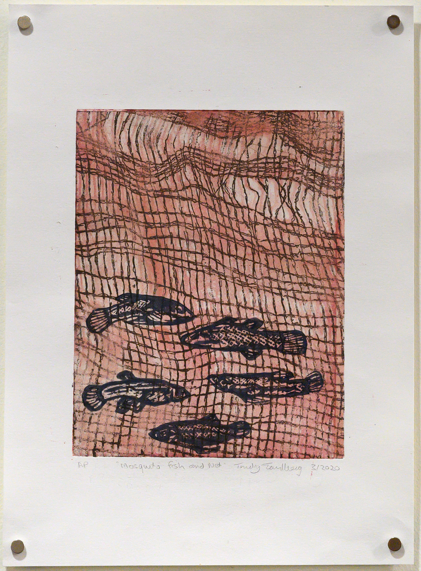Unframed artwork by Trudy Tandberg of 5 small fish in net with orange background