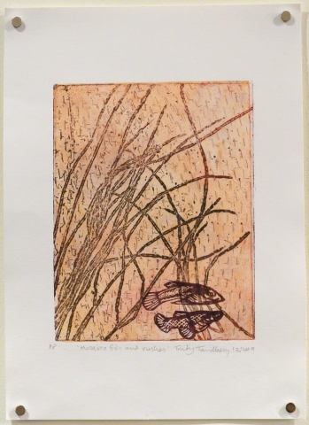 Unframed artwork by Trudy Tandberg of 2 small fish in rushes with light orange background