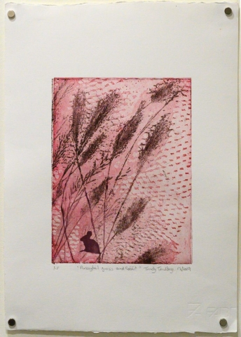 Unframed artwork by Trudy Tandberg of a small rabbit silhouette with pussytail grass on a red background