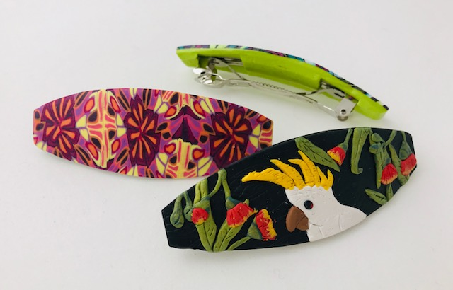 Colourful Patterned Polymer Clay Barrettes