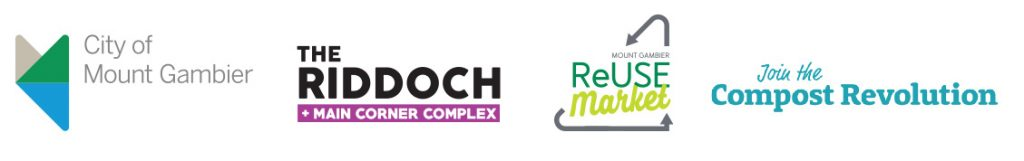 City of Mount Gambier logo, The Riddoch & Main Corner Complex logo, ReUse Market logo, Compost Revolution logo
