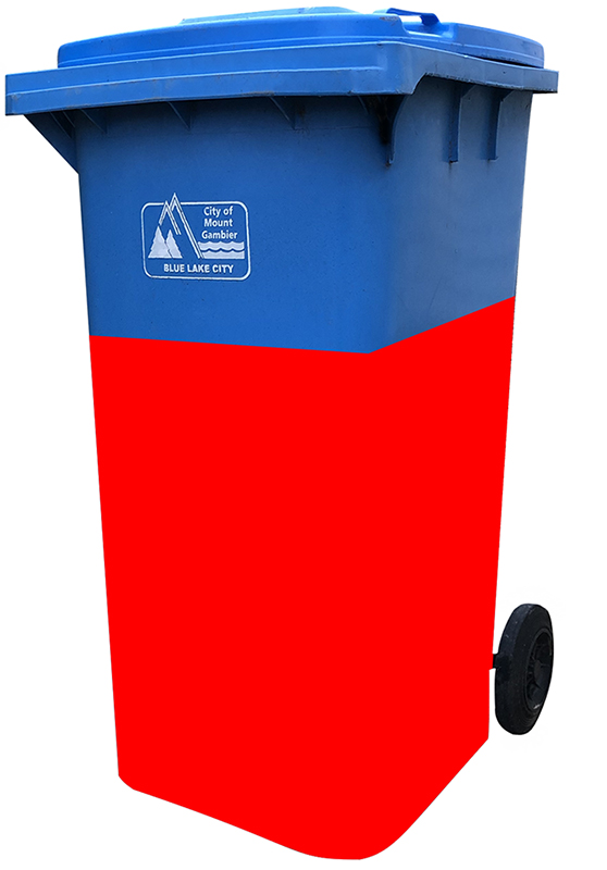 Photo of a blue recycling bin with the lower two thirds of the bin highlighted in red. Entrants can not paint over the City of Mount Gambier logo on the bin.